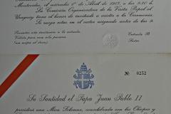 Invitación entrada Misa de Tres Cruces 1 de abril 1987 (anverso)
