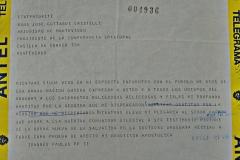 Telegrama de agradecimiento de Juan Pablo II al pueblo uruguayo 15 de abril de 1987