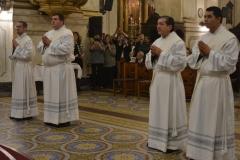 Marinucci, Pacholak, García y Banegas durante su ordenación sacerdotal /C. Planelles