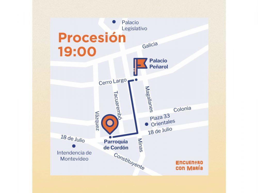 Recorrido de la procesión con María / Fuente: ICM