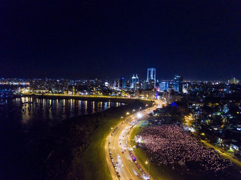 Una toma aérea de la multitud en el Rosario de enero /Martín Freire