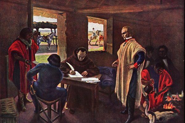 Artigas dictando a su secretario Monterroso, en Purificación. Obra de Pedro Blanes Viale